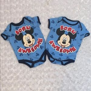 Twin Mickey Mouse Onesies Size 0-3 Months